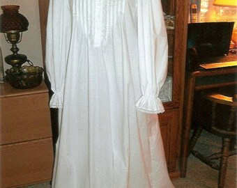Plus SizeVictorian White Flannel Nightgown/high collar/trimmed in cotton lace/Bust size 40-60 inches