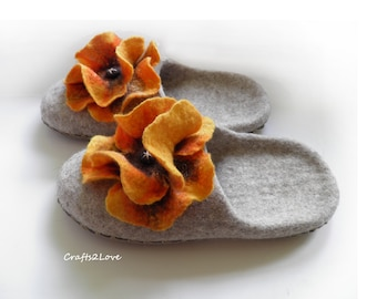Felted slippers Wool felt slippers with soles Wool  womens house shoes with orange poppies Perfect gift for Mom or Grandma Made to order