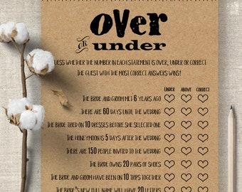 Over or Under bridal shower game, Printable Bridal Shower games, party games, couples shower G201