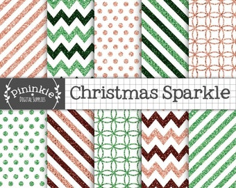 Christmas Glitter Digital Paper, Commercial Use, Scrapbook Papers, Background, Glitter Chevrons, Glitter Texture, Glitter Polka Dots