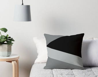 Gray Pillow, Gray Cushion, Gray Throw Pillow, Gray Decorative Pillow, Geometric Gray Toss Pillow, Geometric Pillow, Black and Gray Pillow