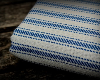 Blue Stripe Fabric, Blue and White Tick, Mock Ticking, 19 in x 62 in, Striped Fabric, Light Weight, Cotton Ticking, Ticking, Cotton Fabric