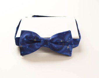 Blue Space Bowtie - Metallic Star Bow Tie - Adult Pretied Bow Tie - Adjustable Bow Ties