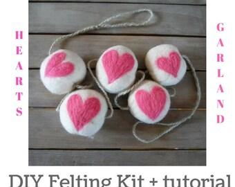 Felt Ball Garland - Rustic Home Decor - DIY Felting Kit - Needle Felting Kit - Beginner Felting Kit - DIY Felt Garland - Felt Balls - Rustic