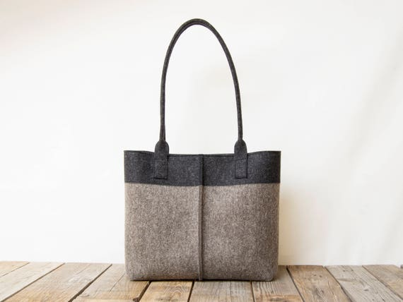 Wool Felt TOTE BAG charcoal and grey / bicolor tote bag / womens bag / felt shoulder bag / grey bag / gray bag / made in Italy