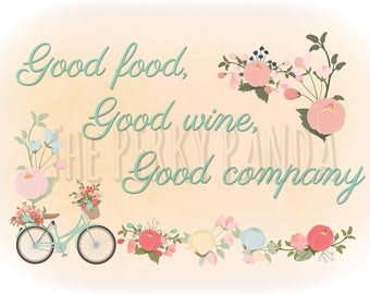 Kitchen decor, wall art print, food, wine, quote print, rustic wall art, home, typography print, bicycle wall art,