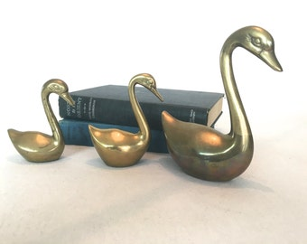 Set of Three Brass Swans, Geese, Cranes, Ducks, Birds