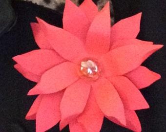 Poinsettia Flower Pin