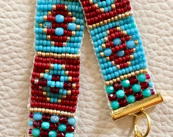 Red and blue Miyuki Beads Bracelet
