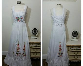 1970's Maxi Wrap Dress, Boho, Gypsy, Hippie Style, Wrap Dress, S/M