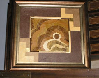 Picture in wood Brown and gold inlay