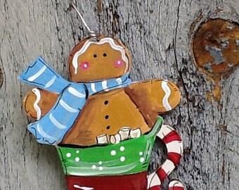 Gingerbread ornament, hot cocoa ornament, gingerbread gift tag, hot cocoa gift tag, Santa ornament, marshmallow ornament, teacher ornament