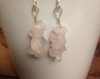 Rose Quartz Earrings, Dangle Earrings, Stacked stone chip Earrings, Rose Quartz chip earrings, Valentine's Day, Ready to ship