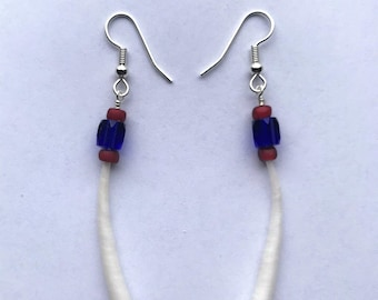 """Single Dentalia Shell Earrings with Cobalt Blue and """"Red Heart"""" Beads."""