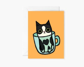 Cup Cat Tuxedo Card