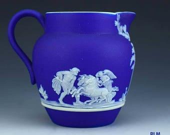 Antique Wedgwood Blue Jasperware Creamer Pitcher