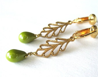 Olive Luster Drop Clip-on Earrings, Brass Leaf Clipons, Gold Ear Clips, Luminous Avocado Green Glass Teardrops, Golden Leaves, Mariana Green