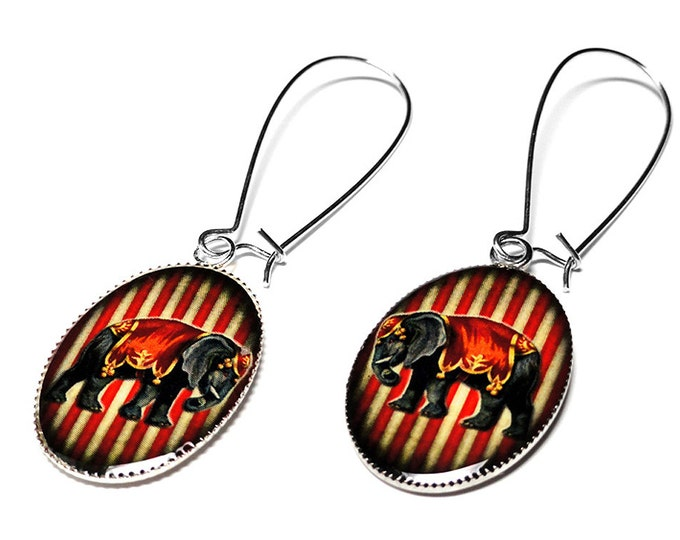 Circus Elephant Earrings, Vintage Carnival Jewelry, Circus Elephant, Handmade, Elephant Earrings, Dangle Earrings, Handmade Jewelry