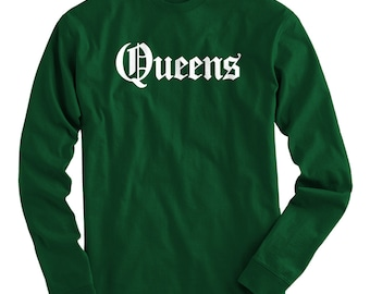 LS Queens Tee - Gothic NYC Long Sleeve T-shirt - Men and Kids - S M L XL 2x 3x 4x - Queens Shirt, New York City - 4 Colors