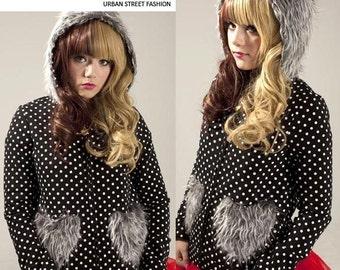 Cutie Fruits Polkadot Shaggy Faux Fur Heart Shaped Pocket Fleece-Back Parka Hooded Jacket