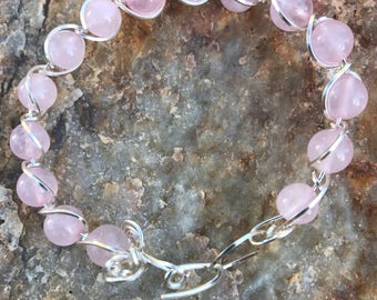 Wire wrapped Rose quartz bracelet