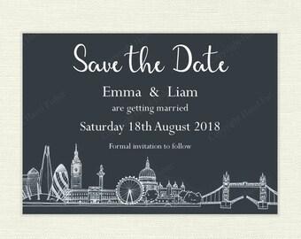 London Skyline Wedding Save the Date - white on dark grey, printable customised save the date card, hand drawn city skyline design - SD008b