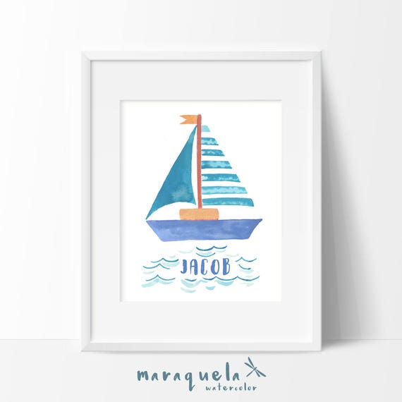 CUSTOM Watercolor Boat baby illustration with personalized name. Newborn, Bedroom kids, child, blue decoration, baby shower, wall, nautical