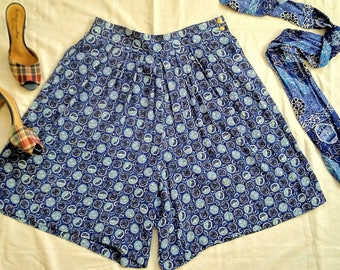 80's medallion print culottes, matching scarf belt, rayon blue print skirt, 80s does 40s, high waisted, medium