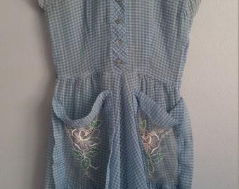 1950s sheer blue dress
