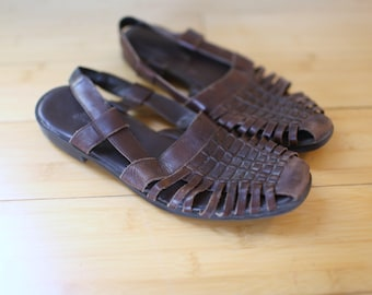vintage woven brown leather hurache sandals womens 7 1/2
