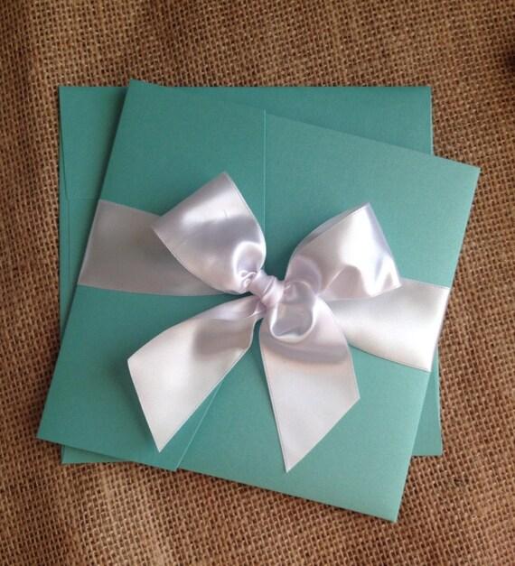 Tiffany Blue Wedding Invitations Kits: Items Similar To Aqua Blue Pocketfold Wedding Invitation