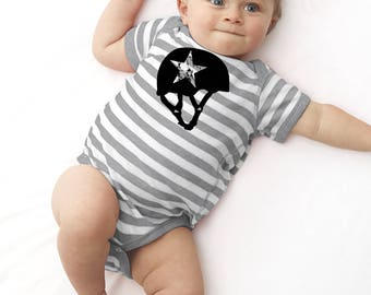 Jammer Baby Roller Derby Shirt, Baby Bodysuit, Striped Infant Romper, Cotton Baby Clothes, Screenprinted Top, Roller Skating, Skater Gift