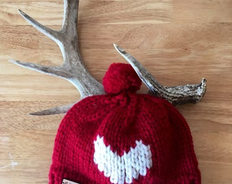 Cowichan Style Sweetheart Toque - Knitted Toque - Knitted Hat - Red