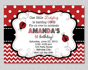 Ladybug Birthday Invitation, Red Ladybug Invitation, Ladybug 1st Birthday Party Invitation, Childrens Invitations,  Printable