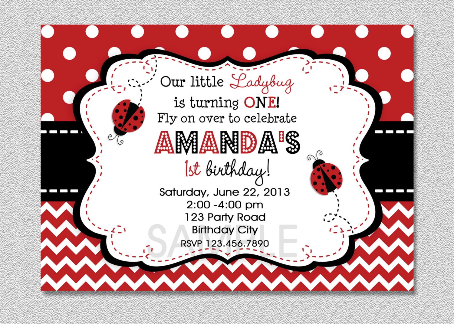 Ladybug birthday invitation red ladybug invitation ladybug ampliar solutioingenieria Choice Image