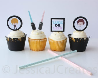 Gender Reveal Star Wars Cupcake Toppers - Luke or Leia Cupcake Toppers - Gender Reveal Party - Boy or Girl - Star Wars Party