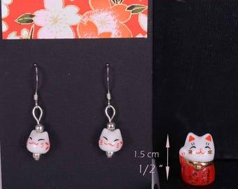 Lucky Cat Earrings plus mini Japanese Manekineko for your purse  - Earrings plus mini Red cat