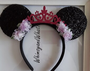 Black Sparkly Minnie Mouse Ears with Fuschia Glittery Tiara and Purple flowers