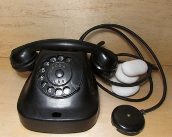 Retro Rotary Black Phone, Vintage Phone, Old Bakelite Rotary Telephone, Dial Phone, Collectable phone