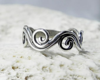 Swirl Ring Band - Spiral Ring - Wave Ring - Sterling Silver Jewelry - Unique Handcrafted Silver Antique Artisan Swirls Ring