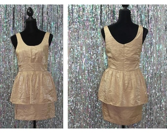 Vintage Gold Metallic Dress (M)
