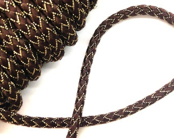"""Brown and Gold Gimp, lurex and rayon, vintage, 1/4"""" wide, offering 2 lots of 20 yards each."""