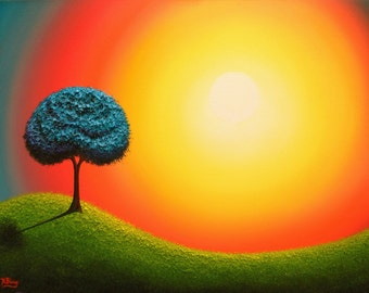 Whimsical Tree Art Print, Surreal Landscape Art Print of Blue Tree Sunset Landscape, Surreal Art Print of Treescape, Colorful Dreamscape