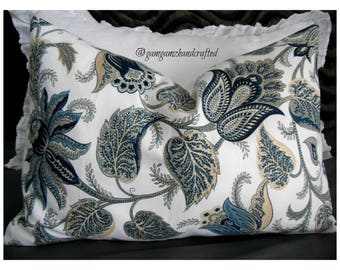 Floral.Blues.White.Natural.Pillow Cover.Slipcovers.Country.Modern,Farmhouse.