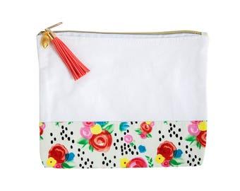 Love+Lemon Cosmetic Bag, Tassel Zipper Pull, Floral Black Dot Pattern