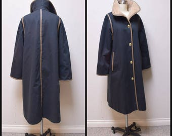 VTG 1970s BONNIE CASHIN for Russ Taylor Black Cotton Twill Turn Lock Coat Size 6