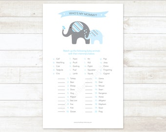 baby shower game printable elephant blue matching game who's my mommy baby boy shower digital games - INSTANT DOWNLOAD