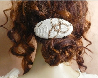 CLEARANCE - Ivory/brown barette, bridal barrette, fabric barrette, oval barrette, hair accessory, fashion accessory