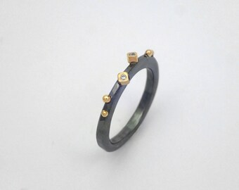 Alternative minimal oxidized silver ring with two diamonds and studded gold granules, Gift for her, Hammered black ring, Gift for daughter.