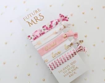 Pink White Gold Gift for Bride - Bride bracelet - Future Mrs - Bride Hair - Bridal Gift - Bride Proposal - Bride hair tie